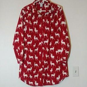 Red Deer Button Down Nightshirt